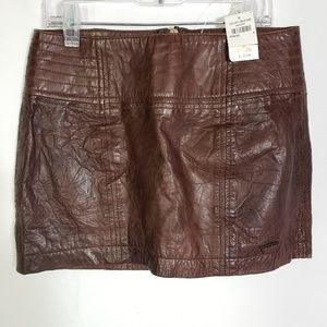 Abercrombie & Fitch Mini Skirt Brown Leather Lined